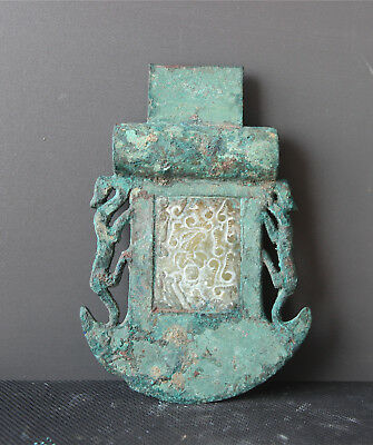 Chinese bronze weapon axe double tiger inlay jade battle axe