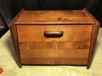 """VINTAGE """"CORNWALL"""" U.S.A. - SOLID Wood Bread Box Flip FRONT Lid Rustic Country"""