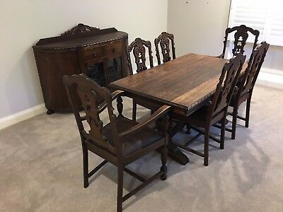 Oak dining table, 6 chairs (incl. 2 carvers) + matching buffet.  Great character