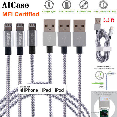 1M 3M Braided Lightning USB Data Sync Charging Cable F Apple iPhone X 8 7 6 Plus