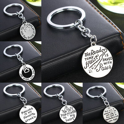 Dog Cat Pet Loss Memory Silver Keyring Lover Pendant Keychain Key Chain Charm