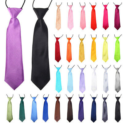 Satin Elastic Neck Tie For Wedding Prom Boys Children School Kids Ties Classic