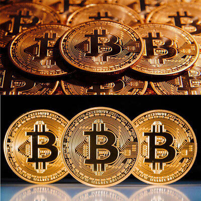 BITCOIN!! Gold Plated Physical Bitcoin in protective acrylic case Free SHIPPING