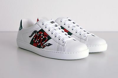 GUCCI 670 Authentic New White Leather Ace Snake Embroidery Sneakers
