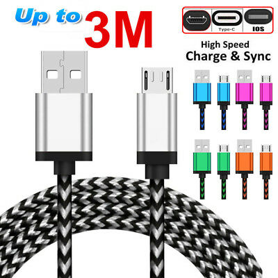 3/6/10FT Rapid Speed Braided USB Micro USB/Type C/IOS Charger Transfer Cable