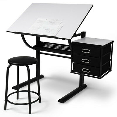 Drawing Table with Stool Adjustable Artist Tiltable Office Board