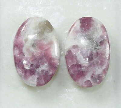 Pair  29.70 Cts. 100 % Natural Lepidolite Untreated  Oval Cab Loose Gemstones