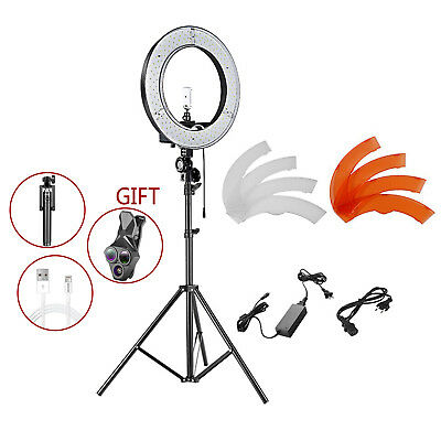 """Neewer 14"""" Outer 36W 180 SMD Video LED Ring Light with Light Stand Color Filter"""