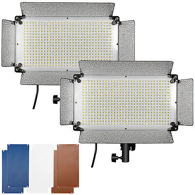 Neewer 2pcs Dimmable 500 LED Video Light with Barn Doors Diffusers Filters