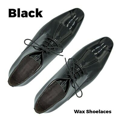 "Wax Cotton Black Dress Shoe Laces 60cm Work Boot 3 Eyelet Round Thin 23"" Waxed"