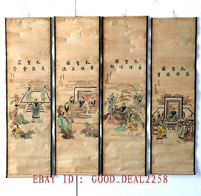 A Set Of 4 Pcs,Old Collection Scroll Chinese Painting Confucius's 4 Story Scenes