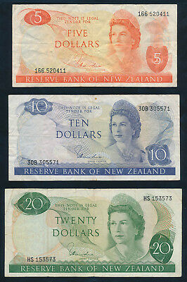 New Zealand: 1977 $1 to $20 Hardie QEII. COMPLETE SET of 5, Fine Cat $108