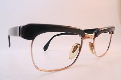 Vintage 50s eyeglasses frames black gold filled 1/10 12K 48-18 METZLER Germany