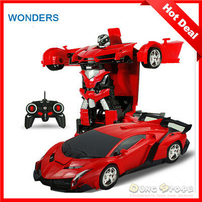 HOT NEW 2In1 RC Car Sports Car Transformation Robots Models Remote Control GiFT