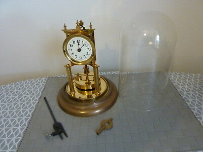 Antique Anniversary clock brass Victorian 1906 runs, glass dome