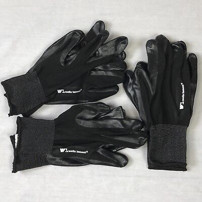 3 Pairs Lot Wells Lamont Men's 100 % Nitrile Coated Work Gloves Size Medium NEW