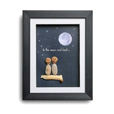 To the Moon and Back - Handmade Pebble Art Picture - Black Frame