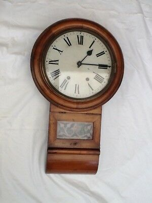 Antique American rare school wall clock New Haven co,s superior 8 day chimer