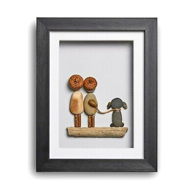 The Two Of Us And The Dog - Handmade Pebble Art Picture - Black Frame