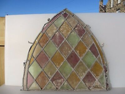 Victorian Stained Glass Window Panel Church Arched Architectural Antique Vintage