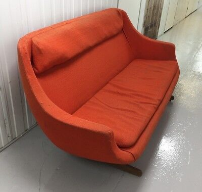 Original Vintage Retro Danish Style Egg Shape Mid Century Orange 3 Seater Sofa