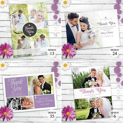 Personalised Wedding Thank You Cards with Photo And Envelopes