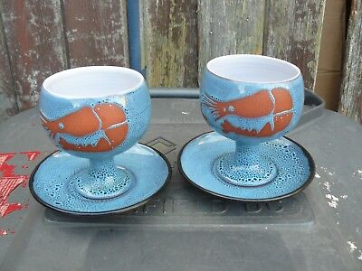 Vintage Wellhouse Pottery Prawn Cocktail Dishes with Saucers- BLUE