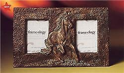 Beautiful Antique Look Metal Running Horse Double Photo Frame, 129935