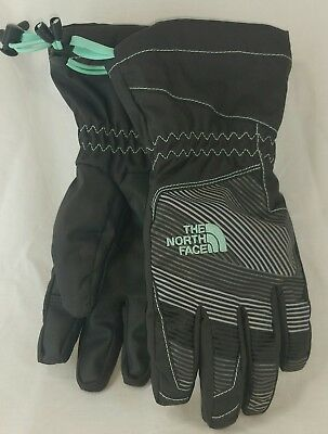 The North Face Youth Small Dry-Vent Ski Gloves Waterproof Black and Mint Green
