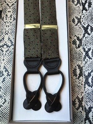 TRAFALGAR NEW IN BOX BRACES SUSPENDERS GOLD RED & BLUE & Brown Leather