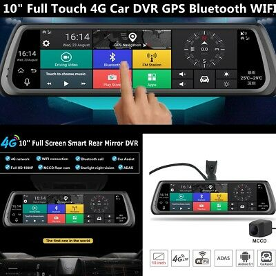 """10""""Full Touch 4G Bluetooth Car DVR Camera Android 5.1Wifi Smart Rear View Mirror"""