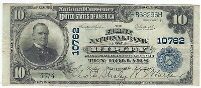 1902 $10 Blue Seal from Ripley, WV Charter 10762