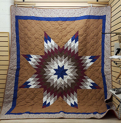 Beautiful Great Cond. Large Homemade Native American Indian Star Quilt Blanket!!