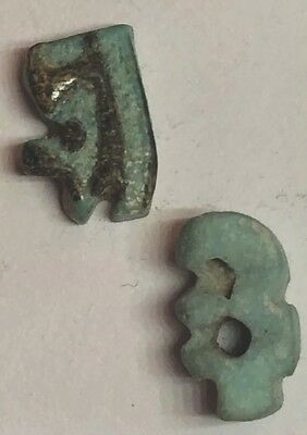 Ancient Egyptian Faience Amulets. Eye Of Horus Depictions. Approx 660BC.