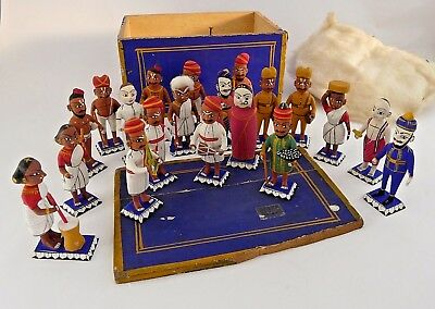Early 20th century painted, carved wood miniature figures/dolls- Indian x 20 box