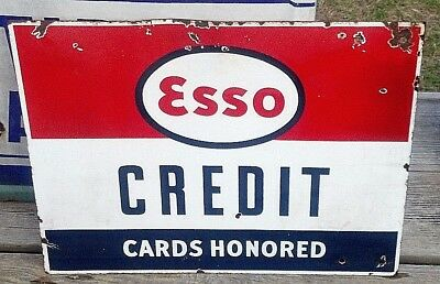 Antique original 1960s Esso Credit Cards Honored Metal Double Sided Sign EUC