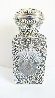 Antique London 1902 Cut Crystal & Sterling Silver Perfume Bottle William Comyns