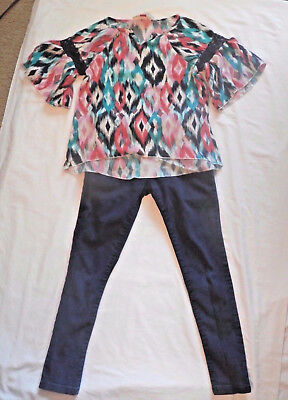 Lot of 2 Girls sz 8 Outfit Set Red Camel Top Shirt Place Jegging Jeans