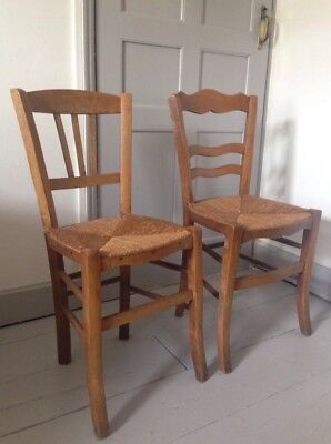 2 Antique Vintage Rustic Vintage French Rush Seat Wood Occassional Chairs