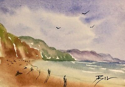 ACEO Original Art Watercolour Painting by Bill Lupton - Beach Time