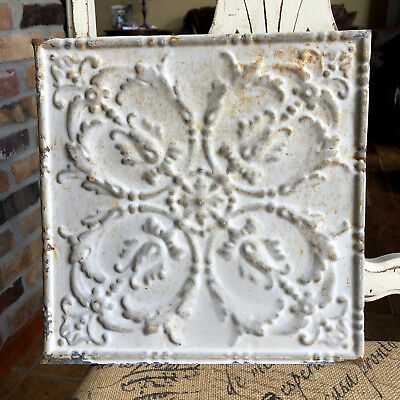 """12"""" Antique Tin Ceiling Tile - Rusty Light Gray Colored Paint - Ornate Design A2"""