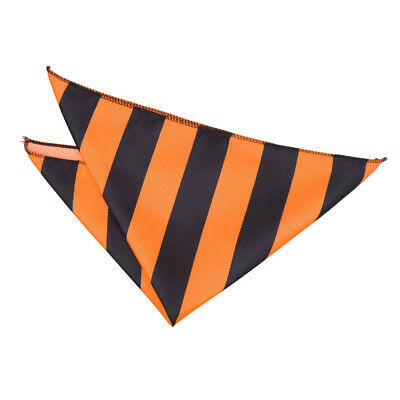DQT Woven Striped Orange & Black Formal Handkerchief Hanky Pocket Square