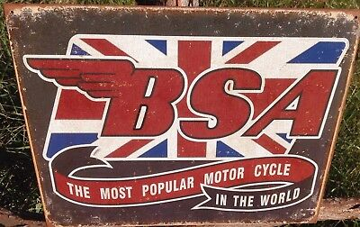 BSA Motorcycle Tin Metal Ad Sign Old Classic British Bike Parts Garage Gift New