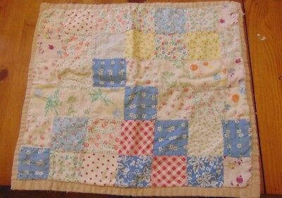 "Doll Quilt Vintage Pastel Patchwork Feed Sack 15"" x 16"""