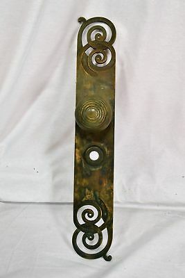 Antique Large Brass Entry Way Backplate And Beehive Doorknob
