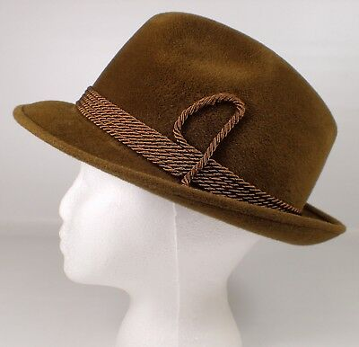 Vtg BIANCHI Continental Styling Maxim Tarnish Brown Fur Felt Fedora Hat Sz 7