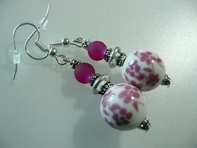 Vintage Art Deco Style Plum Blossom Ceramic & Cloudy Glass Not So Long Earrings