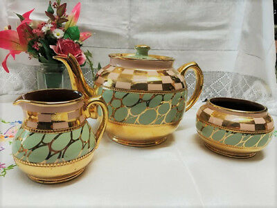 Vintage Sadler Teapot, Sugar Bowl and Milk Jug, Tea Set, Pink, Sage Green, Gold