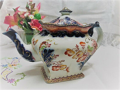 Beautiful Vintage Chinese Style Teapot Floral Design Gold Detail