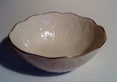 LENOX Small Round Candy Dish Bowl Ivory With Gold Trim Feather Design Nuts Dip